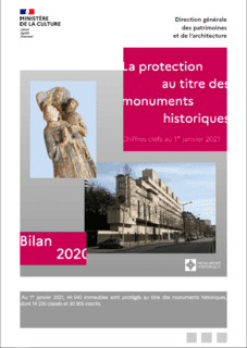 Couverture du bilan : La protection au titre des monuments historiques - Bilan 2020 - Chiffres clefs au 1er janvier 2021