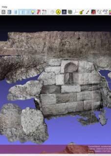 Théâtre gallo-romain, Vendeuil-Caply (Oise). Résultat de la photomodélisation du sacellum avec application de la texture.