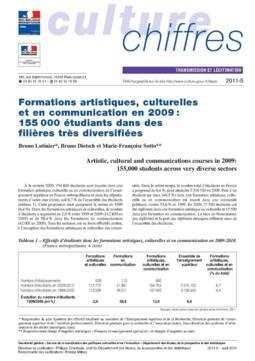 Formations artistiques, culturelles et en communication en 2009 : 155 00 étudiants dans des filières très diversifiées