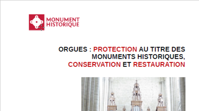Extrait couverture du Guide pratique : Orgues ; Protection MH, Conservation et restauration