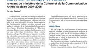 Les établissements d'enseignement supérieur artistique et culturel relevant du ministère de la Culture. Année scolaire 2007-2008