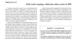 Une typologie de l'emploi dans le secteur culturel en 2007