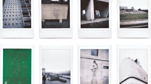 polaroïds pris sur le site du corbusier recensant les formes architecturales