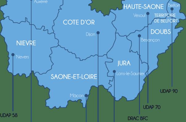 Carte de la DRAC de Bourgogne-Franche-Comté et emplacements de ces sites