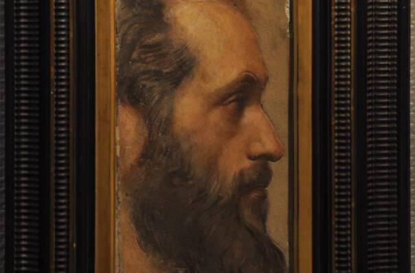 JANMOT Louis, Profil de V. de Laprade en Saint Thomas, Etude pour la fresque de la Cène à l'église Saint Polycarpe à Lyon, 1845, Montbrison, musée d'Allard, (c) Montbrison, musée d'Allard