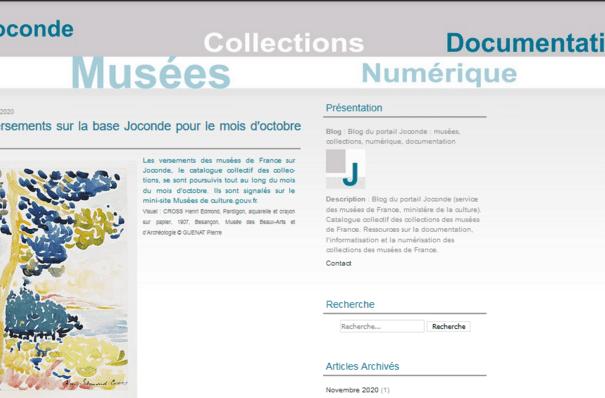 Visuel de la page d'accueil du blog Joconde, Service des musées de France (novembre 2020)