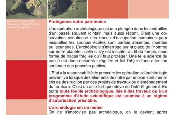 """Couvetrue de la brochure """"l'archéologie, un bien culturel fragile et non renouvelable"""""""