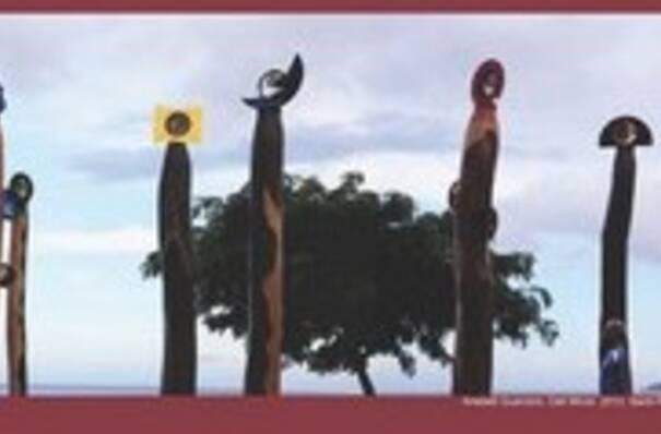 affiche du colloque avec texte et photographie de l'oeuvre d'Anabell Guerrero, Oeil Miroir. 2013. Saint-Pierre, Martinique