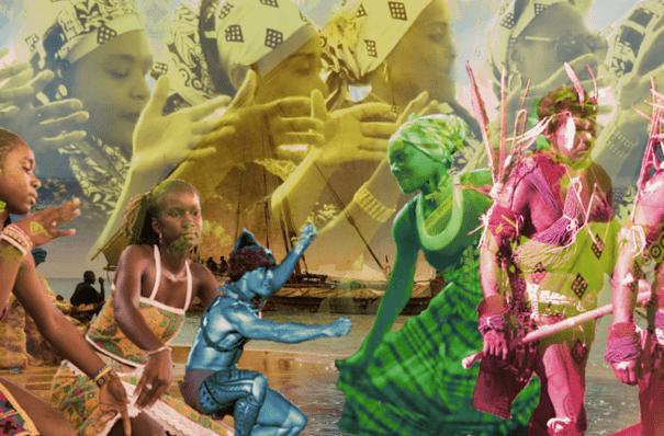 Photomontage presentant divers éléments du PCI en Outre-mer : Ori, Gwoka, Euptop, Deba, danse Aluku