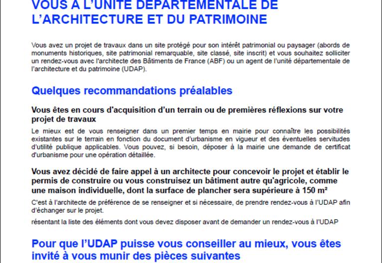 Fiche pratique - Préparer son rendez-vous à l'unité départementale de l'architecture et du patrimoine