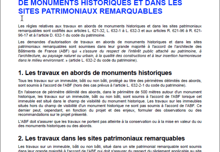 Fiche pratique - Les travaux en abords de monuments historiques et dans les sites patrimoniaux remarquables