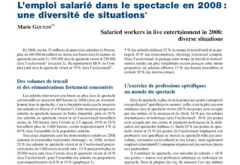 L'emploi salarié dans le spectacle en 2008 : une diversité de situations