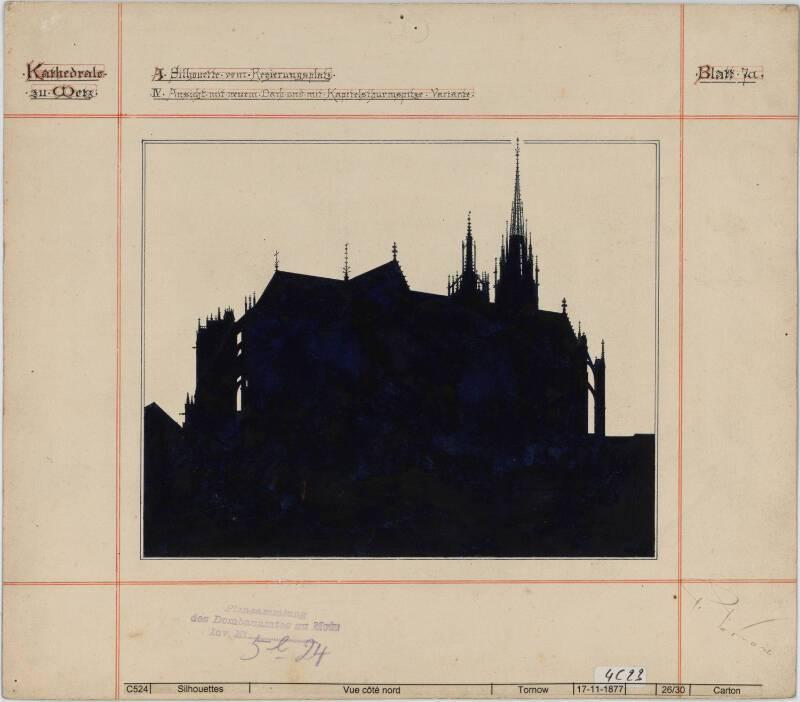 Mise en silhouette de la cathédrale avec nouvelle toiture et flèche sur la tour du Chapitre, vue depuis la Moselle vers le sud, Metz, P. Tornow, 1877. DAR 57463AOO1-2E1-028 - Denkmalarchiv