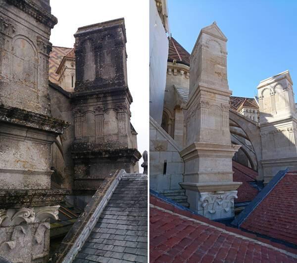 Cathédrale de Langres, contreforts Nord-Est et vue sur les arcs boutants Nord, avant et après restauration