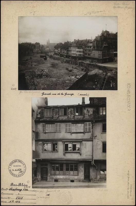 Travaux de la Grande percée, actuelle rue du 22-Novembre, Strasbourg, A.R., 1912. ICO 482B227-007 - Denkmalarchiv