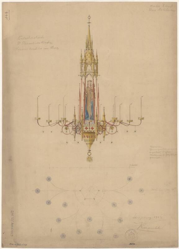 Chandelier pour le chœur, collégiale Saint-Florent de Niederhaslach, J. Knauth, 1903. DAR 325A001-029 - Denkmalarchiv