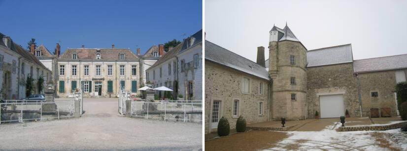 Château de Juvigny (vue d'ensemble) et château de Lagery (tourelle octogonale)