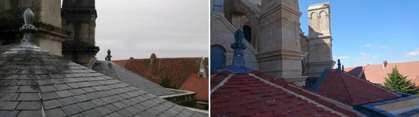 Cathédrale de Langres : couvertures des chapelles absidiales à l'Est, en 2017 (à gauche) et 2019 (à droite)