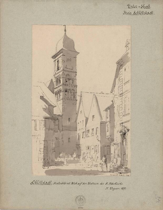 Dessin aquarellé, église Sainte-Foi à Sélestat, K. Weysser, 1872. DAR 462A002-002 - Denkmalarchiv