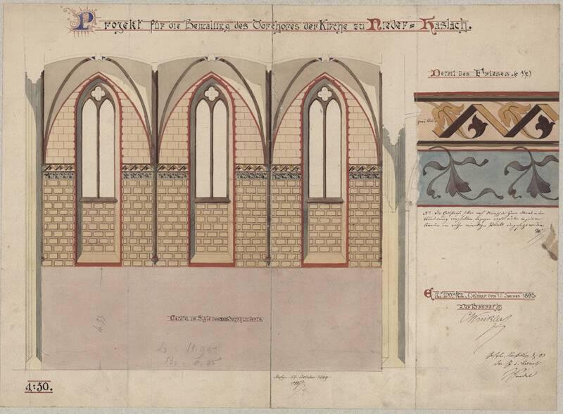 Projet de peinture pour le narthex, collégiale Saint-Florent de Niederhaslach, Ch. Winkler, 1893. DAR 325A001-016 - Denkmalarchiv