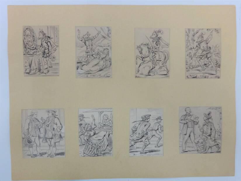 Ensemble de 52 dessins de ou attribués à Charles Pinot, dessinateur majeur de l'imagerie d'Épinal (fin du XIXe siècle) - Musée de l'Image - Épinal