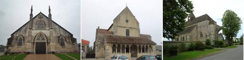 Bisseuil (Ay-Champagne), église Saint-Hélain / Cauroy-les-Hermonville, église Notre-Dame-et-Saint-Nicaise / Charleville, église Saint-Pierre
