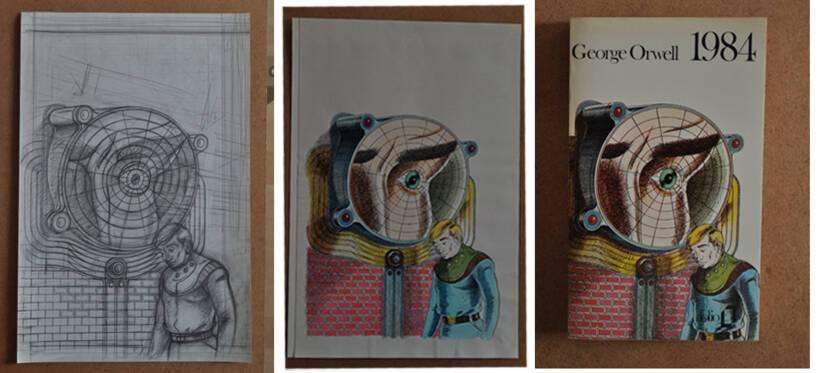 Sans titre, esquisse pour 1984 (George Orwell, Paris, Gallimard, Folio, 1979) 1/ crayon sur papier et encre et aquarelle sur papier - Musée Tomi Ungerer