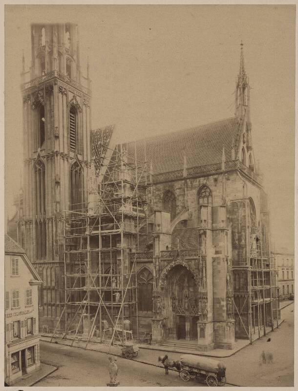 Thann, église portail ouest, avant restauration, G.M. Eckert, 1875. DKM 334A001_026 - Denkmalarchiv