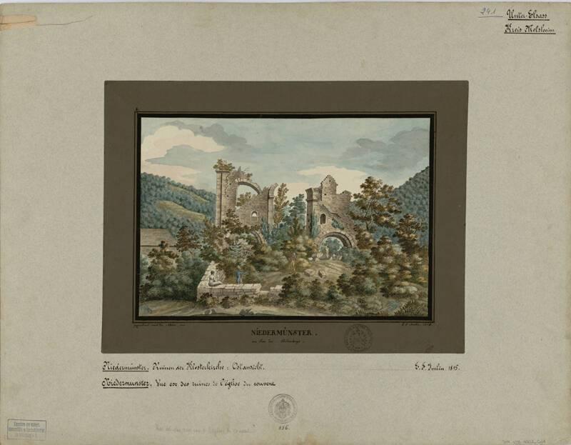 Vue des ruines de l'église, abbaye de Niedermunster, E-F Imlin, 1815. DAR 428A001-011 - Denkmalarchiv