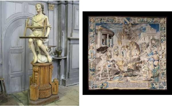 Lutrin de Meuvy, commune de Breuvannes-en-Bassigny et Tapisserie de la Cathédrale de Langres, Saint-Mammès dans la fournaise, propriété de l'Etat © DRAC Grand Est