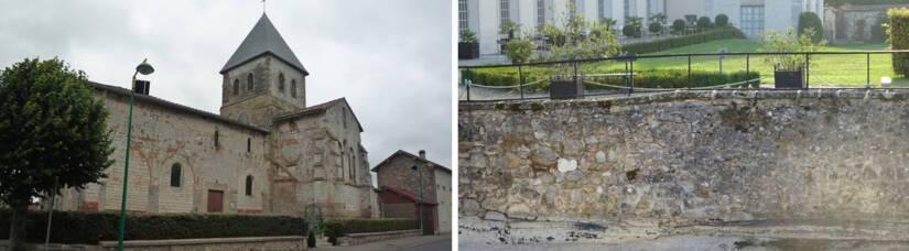 Dampierre-sur-Moivre, église Saint-Laurent / Etoges, château, mur des douves