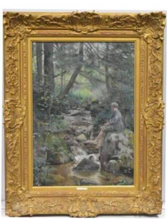 Huile sur toile de Jules Adler (1865-1952), Le Petit pêcheur (1891) - Musée Charles de Bruyères