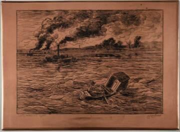DAUBIGNY Charles-François, Les Bateaux à vapeurs, planche à imprimer, cuivre gravé, 1862, Auvers-sur-Oise, musée Daubigny, © Jacques LEROY