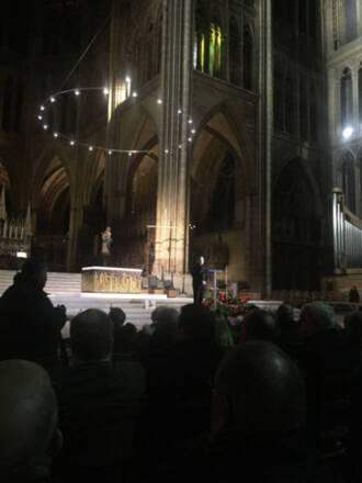 7 décembre 2019, cathédrale de Metz, présentation des panneaux d'essai des vitraux contemporain de Kim Sooja pour le triforium du transept sud © DRAC Grand Est