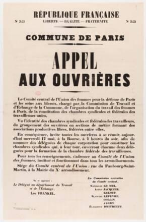 Affiche No 342. Commune de Paris. Appel aux ouvrières. 17 mai 1871. impression typographique, 1871, Paris, Assemblée nationale © Assemblée nationale