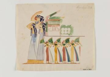 BAUD Marcelle, Décor de la tombe de Kinebou, aquarelle et graphite sur papier, entre 1925 et 1938, Clermont-Ferrand, Musée Bargoin © MONDIERE Jérôme