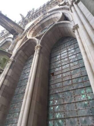 Cathédrale de Reims - Vue des baies hautes de la façade Nord - 2e travée