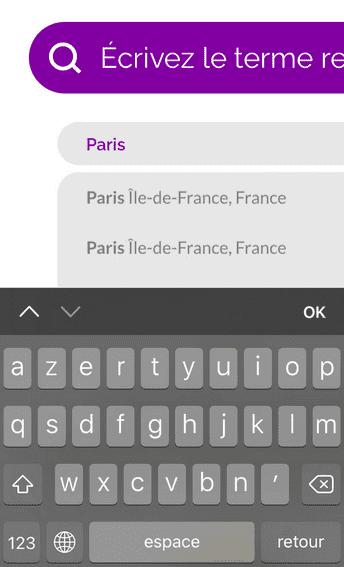 """Capture d'écran de la zone de localisation sur la page d'accueil du Dictionnaire des francophones où """"Paris"""" est indiqué."""