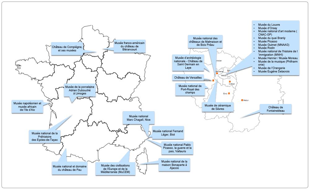 Carte des musées nationaux sous tutelle du ministère de la Culture, 13/10/2020