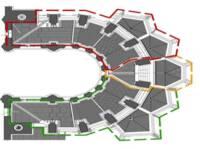 Cathédrale de Langres, plan de phasage des tranches de travaux (Tranche 1 : rouge ; tranche 2 : jaune ; Tranche 3 : vert)