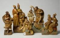 scènes de la vie de saint Jean-Baptiste, bois doré et polychrome, XVIe siècle, éléments provenant d'un retable