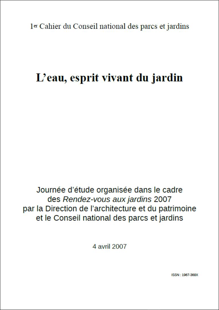 Actes RdvJardins 2007 - L'eau, esprit vivant du jardin