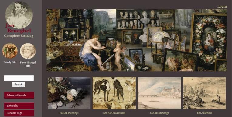 Visuel de la page d'accueil du catalogue raisonné numérique de Jan Brueghel