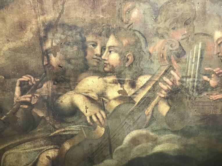 La restauration du plafond peint de la chapelle des Pénitents blancs de Montpellier. La peinture d'Antoine Ranc à l'honneur
