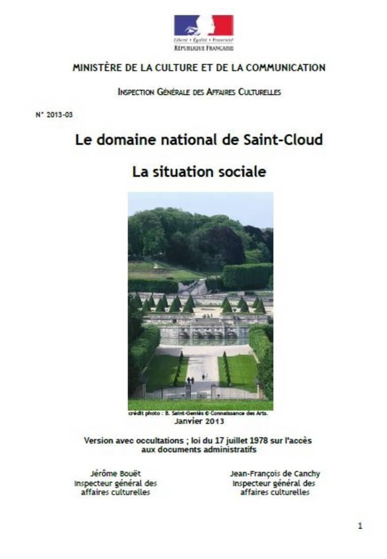 La situation sociale du domaine national de Saint-Cloud