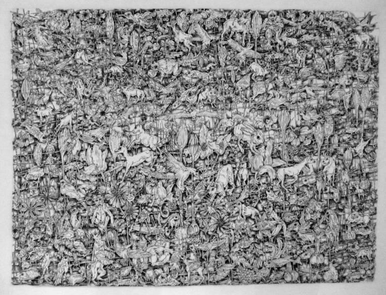 JAROUSSE Isabelle, L'arc en ciel blanc 1, papier, encre, 2017, Villefranche-sur-Saône, Musée municipal Paul-Dini © Isabelle JAROUSSE