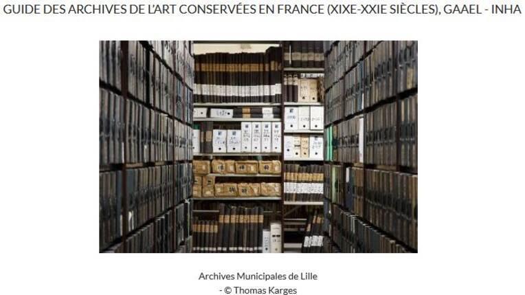 Page d'accueil du guide des archives de l'art conservées en France - INHA