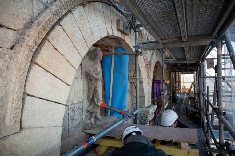Monument historique en travaux : la cathédrale Saint-Pierre d'Angoulême (Charente) - Fin de chantier