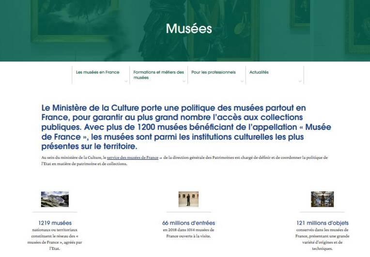 Page d'accueil du site thématique Musées de culture.gouv.fr