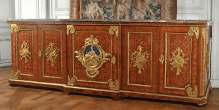 Bibliothèque basse, chêne, marqueterie en mosaïque, placage, bronze doré - Antoine-Robert Gaudreaus et jean-Henri Riesener - ˆ˜© Mobilier national